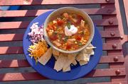 Chicken Chili, created by Downtown Catering & Carry-Out, is a simple but filling dish with a southwest flavor.