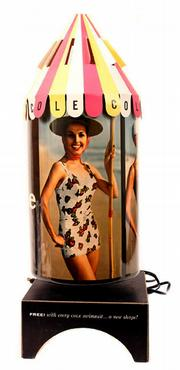 This unusual advertising lamp is an animated motion lamp. Cole of California used it to promote sales of bathing suits. The lamp sold at a Hake's auction in Timonium, Md., for $200.