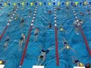 Swimmers warm up before their meet at the Lawrence Indoor Aquatic Center.