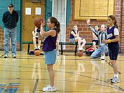 Bell Schwartz, of Team 3, goes to the line to shoot a free throw Saturday at the Lawrnce Community Building.