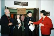 "Jim Tate, left, and Joyce Tate, right, greet ""Martin and Katie Luther"" portrayed by George and Beth Crawford, at the recent Wittenberg Days celebration, which marked Reformation Day at Trinity Lutheran Church, 1245 N.H."