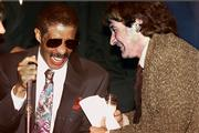 Comedians Richard Pryor, left, and Robin Williams laugh at the New York Friar's club in this September 1991 file photo. Pryor, the caustic yet perceptive actor-comedian, died Saturday of a heart attack. He was 65.
