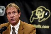 Colorado coach Gary Barnett speaks at a news conference announcing his departure from CU. Barnett's tumultuous stay at CU ended Thursday when he reluctantly stepped down.