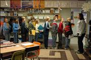 Most of the fifth-grade students in Gina Holwick's class at McLouth Elementary School line up to go to computer lab Friday. For the eighth consecutive year, 60 percent of the state's school districts lost enrollment in 2005. McLouth has lost enrollment six out of the last seven years.