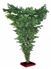 "Decor that will turn heads: Try an upside-down tree with metal stand from <a href=""http://www.christmastreeforme.com"">www.christmastreeforme.com</a>, $630."
