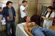 "Actor Steve Carell screams during a chest wax in ""The 40-Year-Old Virgin."" Miki Mia, right, a full-time actress who helps in her aunt&squot;s waxing salon when she returns to her native Japan, was perfect for the role. Watching are actors Paul Rudd, left, and Seth Rogen."