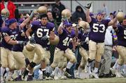 Carroll college players celebrate as time expires against Saint Francis in the NAIA football championship game. Carroll won, 27-10, Saturday in Savannah, Tenn.