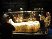 Visitors look at the coffin of Tjuya on Thursday during the opening of the King Tut exhibit at the Museum of Art in Fort Lauderdale, Fla. The exhibit opened its doors at the second of four venues during its 27-month tour of the United States.