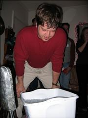 Another of Donovan's feats of strength requires guests to see who can hold their head under ice water the longest.