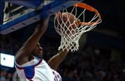 Kansas center Darnell Jackson throws down a dunk in the second half of Thursday's game against Northern Colorado.