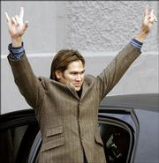 Johnny Damon acknowledges fans upon his arrival at Yankee Stadium. Damon was introduced Friday in New York as the Yankees' new center fielder.