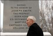 Gordon B. Hinckley, president of The Church of Jesus Christ of Latter-day Saints, stands Thursday at the memorial obelisk on the grounds of the Joseph Smith Birthplace Memorial in Sharon, Vt. Hinckley spoke about the life and legacy of founder Joseph Smith on Thursday, a day before Mormons marked the bicentennial of Smith's birth.