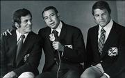 This January 1972 photo, released by ABC, shows, from left, Don Meredith, Howard Cosell and Frank Gifford, the broadcasting team for Monday Night Football. Television sports reaches the end of one era and the beginning of another Monday night when ABC signs off on its prime-time weeknight coverage of the NFL and hands off to ESPN.