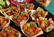 Chicken With Cashews in Won Ton Cups is easy to prepare, yet it's an impressive hors d' oeuvre to serve guests. They're also tasty with a turkey filling.