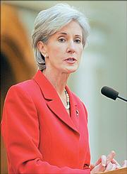 Kansas Gov. Kathleen Sebelius gives her State of the State speech Monday in Topeka.