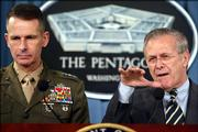 Gen. Peter Pace, left, chairman of the Joint Chiefs of Staff, and Defense Secretary Donald Rumsfeld meet Thursday with reporters at the Pentagon in Washington, D.C., to discuss the situation in Iraq.