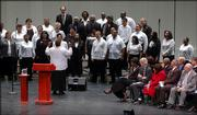 Members of the Lawrence MLK Adult Community Choir perform at the Dr. Martin Luther King Jr. Holiday Observance Monday at the Lied Center.