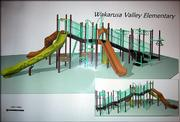 This illustration shows the new playground equipment planned for Wakarusa Valley School. The school aims to raise an additional $12,000 to pay for the equipment.