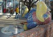 Another sculpture in the Jayhawks on Parade project has been vandalized. The Bit o' Hawk by Katie Kring that sits outside the Jayhawk Bookstore, 1420 Crescent Road, was pulled off its base sometime late Monday or early Tuesday.