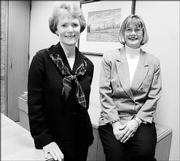 Joan Golden, left, and Sharon Spratt are co-chairwomen of the Excellence By Design Program. The program has brought more than 1,200 jobs into the area.