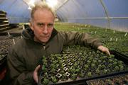 Grower Ed Snodgrass displays some of his plants that he sells and are used for rooftop growing at one of his greenhouses in Street, Md. The plants help keep out the summer heat and winter cold while also managing storm water runoff and absorbing carbon dioxide.