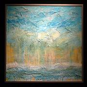 One of Rowley's en caustic paintings entitled Winter Light.