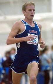 Kansas University&#39;s Cameron Schwer competes in the men&#39;s 5,000-meter run at the Jayhawk Invitational. Schwehr won the race Saturday at Anschutz Pavilion.