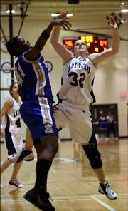 Eudora High senior Carrie Lister in Friday's game against Sumner Academy.