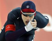 The United States' Chad Hedrick competes in the 5,000-meter speedskating. Hedrick claimed the gold medal Saturday in Turin, Italy.