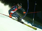 Ted Ligety of the United States skis to the gold medal during his second slalom run in the men's combined. Ligety won the event Tuesday in Sestriere, Italy.