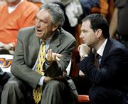 Oklahoma State coach Eddie Sutton sits on the bench during the Cowboys' game against Detroit Mercy in this file photo from Nov. 22, 2005, in Stillwater, Okla. Sutton announced Wednesday he would seek treatment for alcoholism.