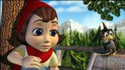 "Red (voiced by Anne Hathaway) contemplates a mystery that is corrupting her woodland neighborhood in the animated ""Hoodwinked,"" which attempts to present the tale of Little Red Riding Hood from different perspectives."