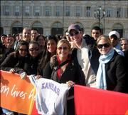 Students show their Jayhawk spirit while in the audience of the Today Show, which aired live from Torino.