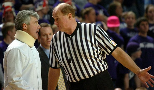 Kansas State head coach Jim Wooldridge argues with game official Steve Welmer after being called for a technical foul in the first half.