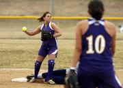 Haskell Indian Nations University's Tiffany McIntosh looks to turn a double play against Bethany. The Fightin' Indians lost both games of Tuesday's softball doubleheader at HINU.