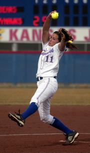 Kansas University pitcher Serena Settlemier hurls against Missouri State. The Jayhawks swept a doubleheader Wednesday at Arrocha Ballpark.
