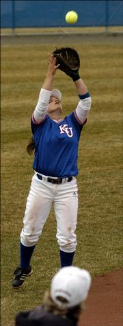 KU's short stop Destiny Frankenstein, pulls down a fly ball in the first inning of play against the University of Minnesota, Friday afternoon as part of the 2006 Jayhawk Classic.