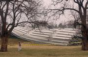 The bleachers at Jayhawk Soccer Complex lie upended after Sunday morning's storms hit Lawrence and the Kansas University campus.
