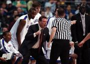 Kansas head coach Bill Self explodes during a first half call that went Bradley's way.