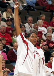 Oklahoma freshman Courtney Paris celebrates during the closing minutes of the Sooners' 78-66 victory over Pepperdine in the first round of the NCAA women's tournament. Paris had 27 points and 11 rebounds Saturday in Denver.
