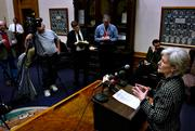 Gov. Kathleen Sebelius urges lawmakers to pass a school finance bill during a news conference Monday in her office at the Statehouse in Topeka. The governor has called for expanded gambling to pay for the school funding increases.