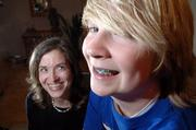 Tami Clark, left, and her son Brendon Clark, 13, don't just share a familial smile - they're both currently sporting braces. As technology has made braces more fashionable and less of a hassle to maintain, the number of North American teens and adults wearing them has increased by 30 percent in the past decade.