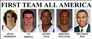These are 2006  handout photos provided by their respective universities showing the Associated Press' All America men's basketball team. From left;  Gonzaga's Adam Morrison, Duke's J.J. Redick, Villanova's Randy Foye, Duke's Shelden Williams and Washington's Brandon Roy.