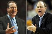 LSU head coach John Brady, left, yells to players during a game against Alabama in Tuscaloosa, Ala., in a Feb. 4, 2006 photo. UCLA head coach Ben Howland, right, yells to players during a game against Memphis in Oakland, Calif., in a March 25, 2006 photo. LSU and UCLA play in the college basketball national semifinals at the Final Four on Saturday April 1 in Indianapolis.