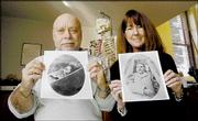 Dennis Van Gerven, University of Colorado anthropology professor, and Marianne Wesson, CU law professor, hope to determine the identity of a 127-year-old corpse, shown in the photos they hold, after they exhume it.