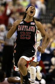 Maryland's Marissa Coleman celebrates after Maryland defeated North Carolina 81-70 in  the semifinals of the NCAA women's Final Four basketball championship Sunday, April 2, 2006, in Boston.