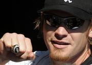 Chicago third baseman Joe Crede shows off his World Series ring. The White Sox received their rings during a ceremony Tuesday in Chicago.