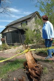 Shari Head's house at 1416 Conn. suffered damage in the March 12 storm when a large walnut tree fell on the structure.