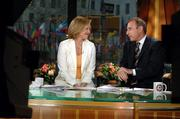 "Katie Couric and Matt Lauer are shown on the set of NBC&squot;s ""Today"" show, where Couric told viewers Wednesday that she&squot;s leaving NBC to join CBS as anchor of the ""CBS Evening News."""