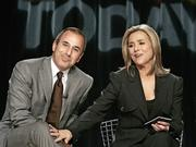 "Meredith Vieira, the new co-host of the NBC ""Today"" television program, interacts with Matt Lauer at a New York news conference, Thursday April 6, 2006. Already flashing signs of an easy rapport with Matt Lauer four months after their first ""blind date,"" Vieira was introduced Thursday as his future ""Today"" show partner. She met Lauer at his apartment for dinner in December."